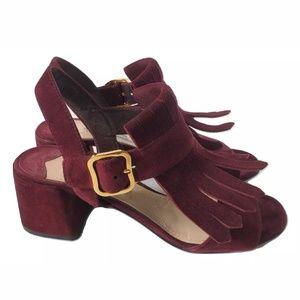 Prada Suede Fringe Kiltie Block Heels Sandals
